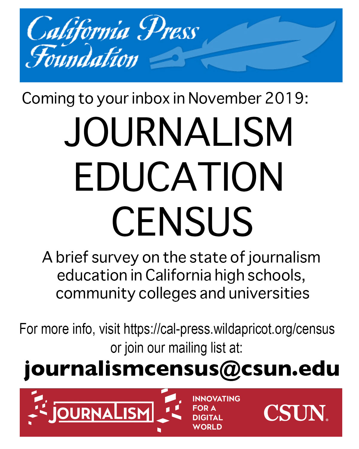 Journalism Education Census flyer